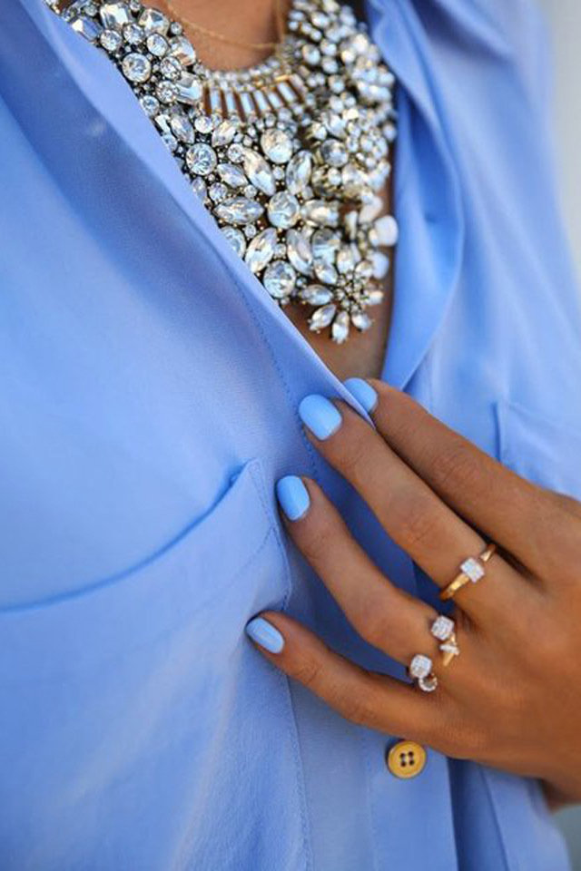 Image result for blue nail polish with outfits