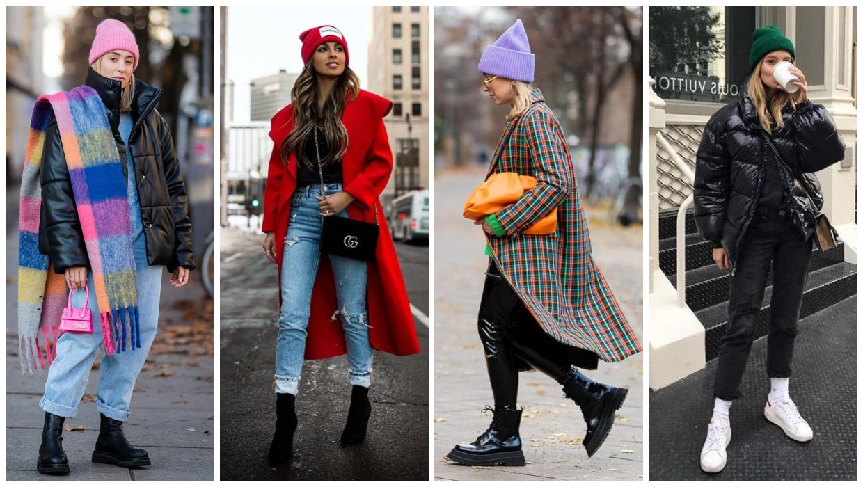 how to wear a bright colored beanie
