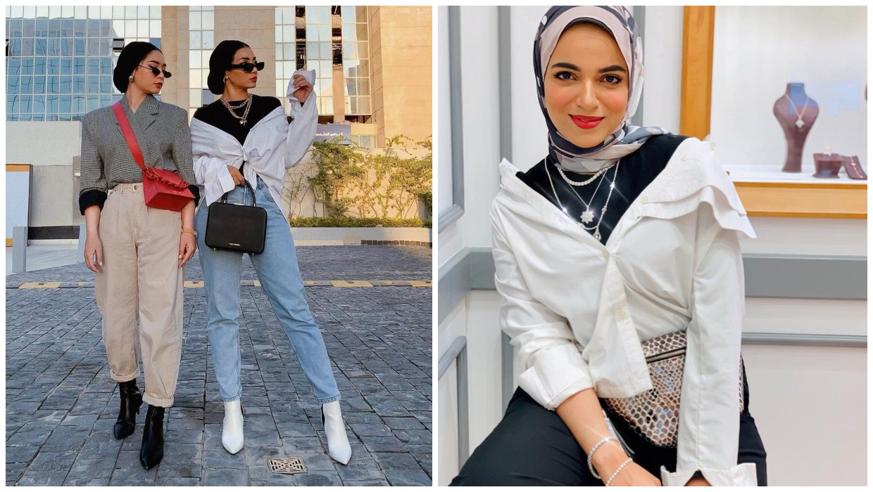 how to wear off shoulder shirts with hijab