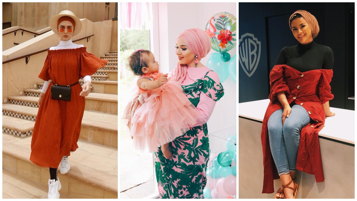 how to wear off shoulder dresses with hijab