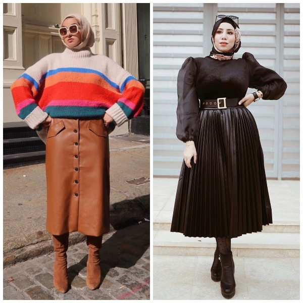hijab leather skirt