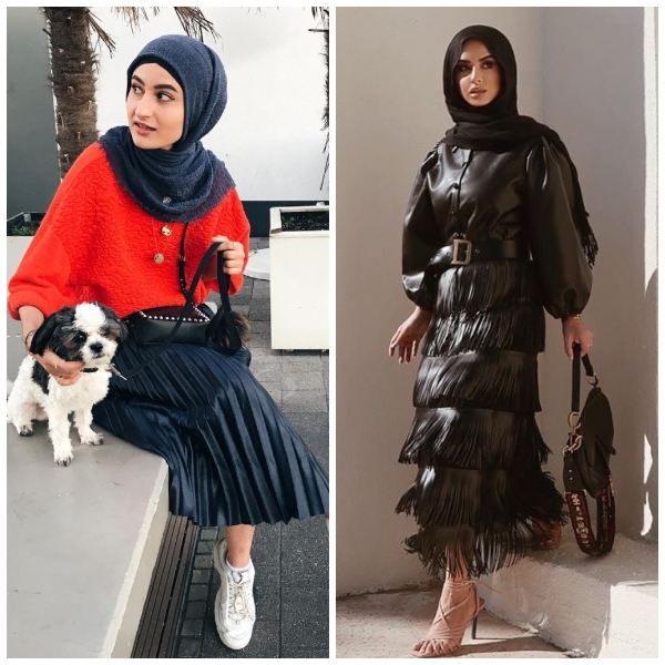 how to wear leather skirt with hijab