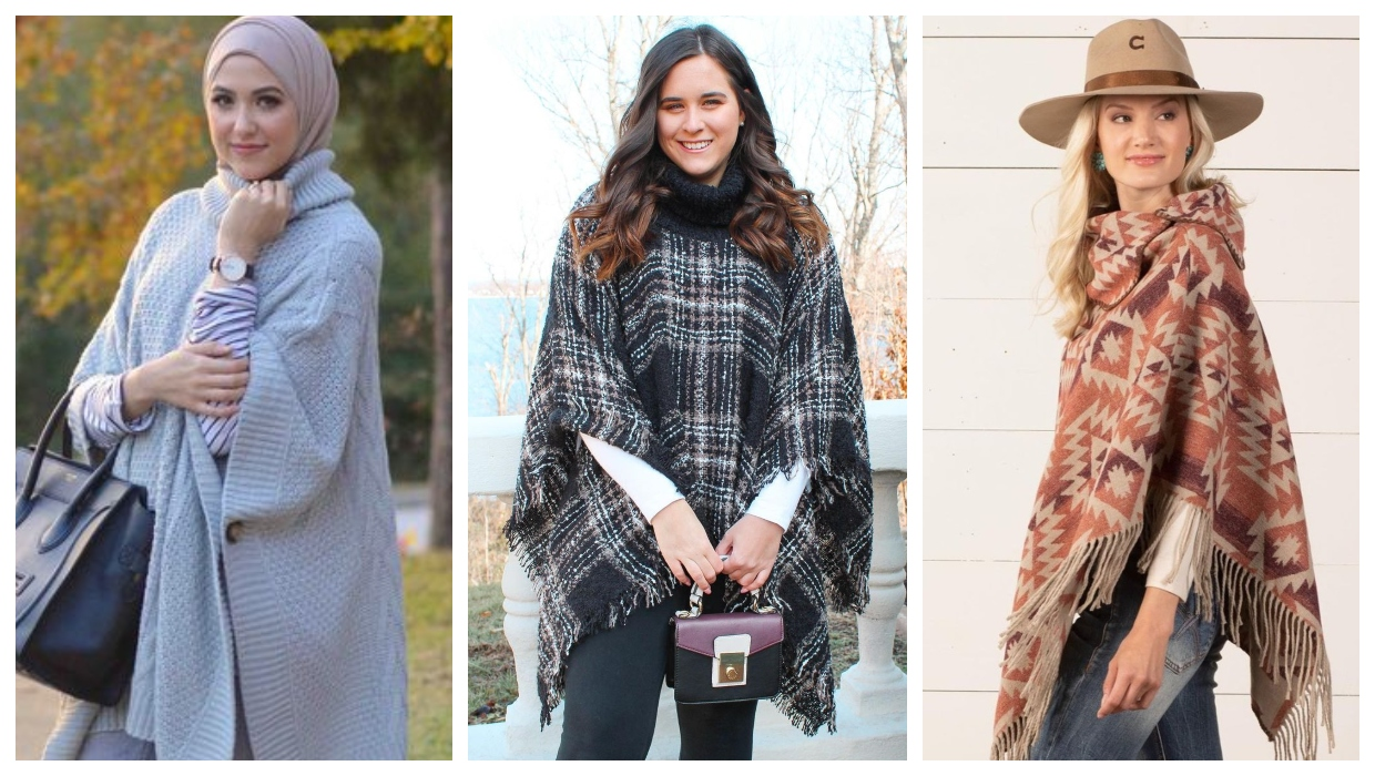 how to wear a high neck poncho