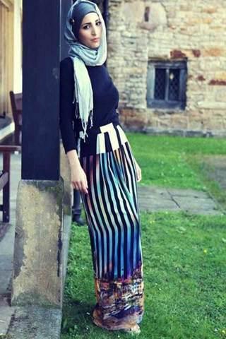 افكار لارتداء الملابس المخططة والمقلمة مع الحجاب