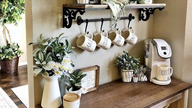 Coffee rs! See 20 Creative Ideas to Decorate Your Home Coffee Bar! on ideas kitchen tables, ideas kitchen design, ideas kitchen colors,