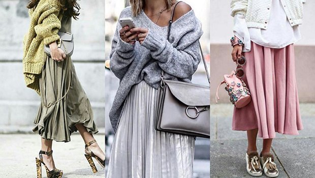 This Is How You Wear Oversized Sweaters on Skirts If You\u0027re Into